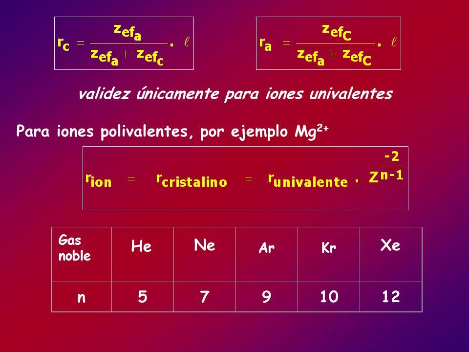 validez únicamente para iones univalentes