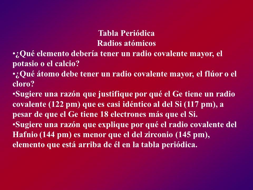 Tabla Periódica Radios atómicos. ¿Qué elemento debería tener un radio covalente mayor, el potasio o el calcio