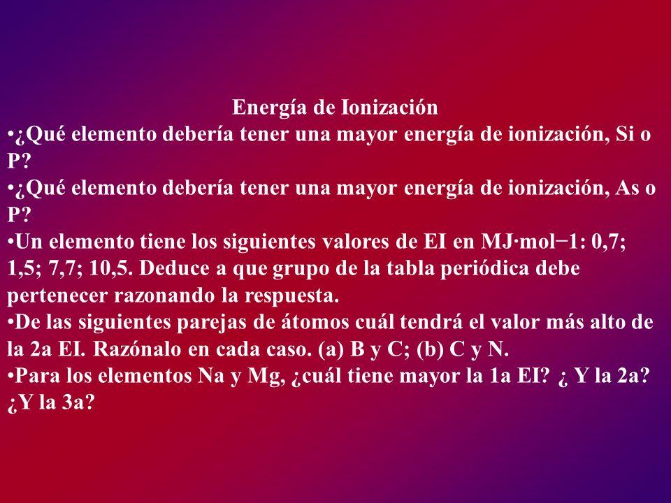 Energía de Ionización ¿Qué elemento debería tener una mayor energía de ionización, Si o P