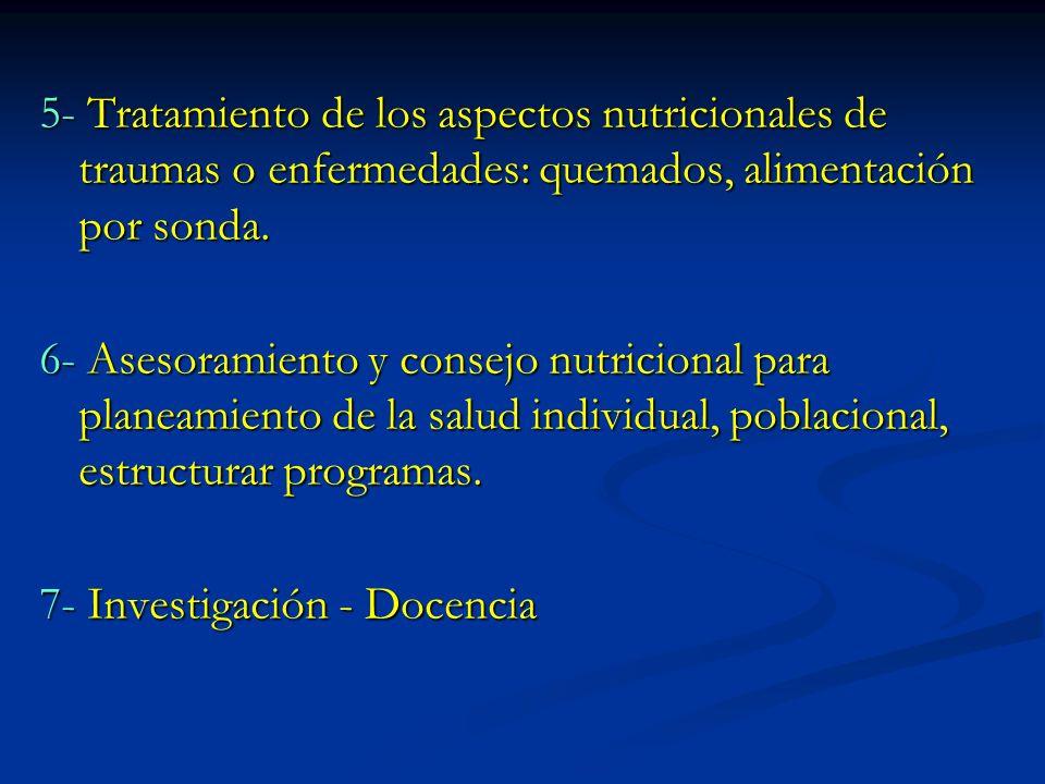 5- Tratamiento de los aspectos nutricionales de traumas o enfermedades: quemados, alimentación por sonda.