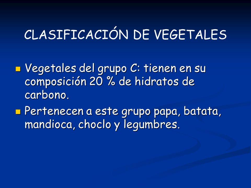 CLASIFICACIÓN DE VEGETALES