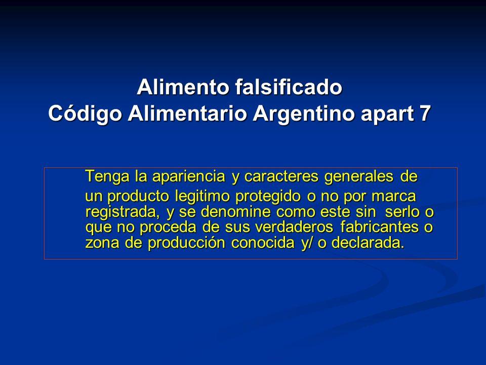 Alimento falsificado Código Alimentario Argentino apart 7