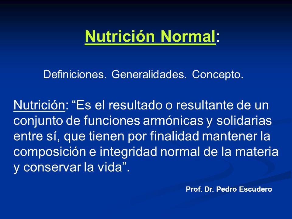 Nutrición Normal: Definiciones. Generalidades. Concepto.