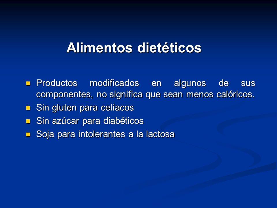 Alimentos dietéticos Productos modificados en algunos de sus componentes, no significa que sean menos calóricos.