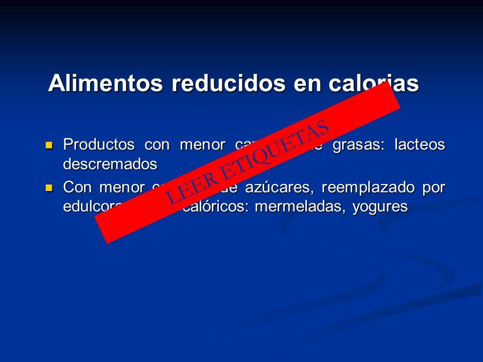 Alimentos reducidos en calorias