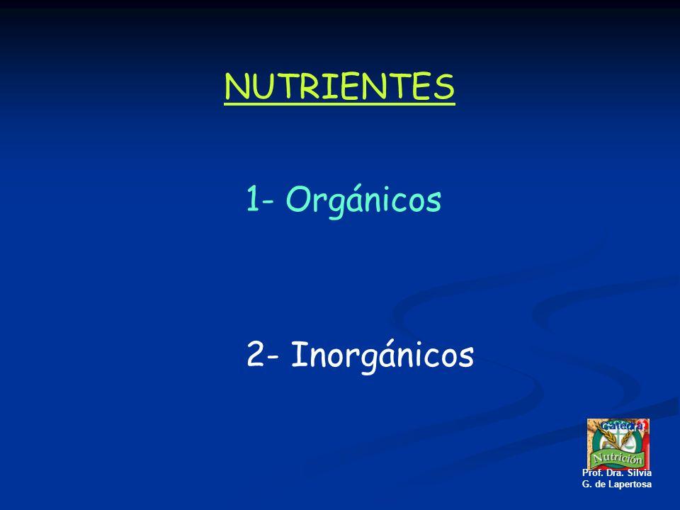 NUTRIENTES 1- Orgánicos 2- Inorgánicos Catedra Prof. Dra. Silvia