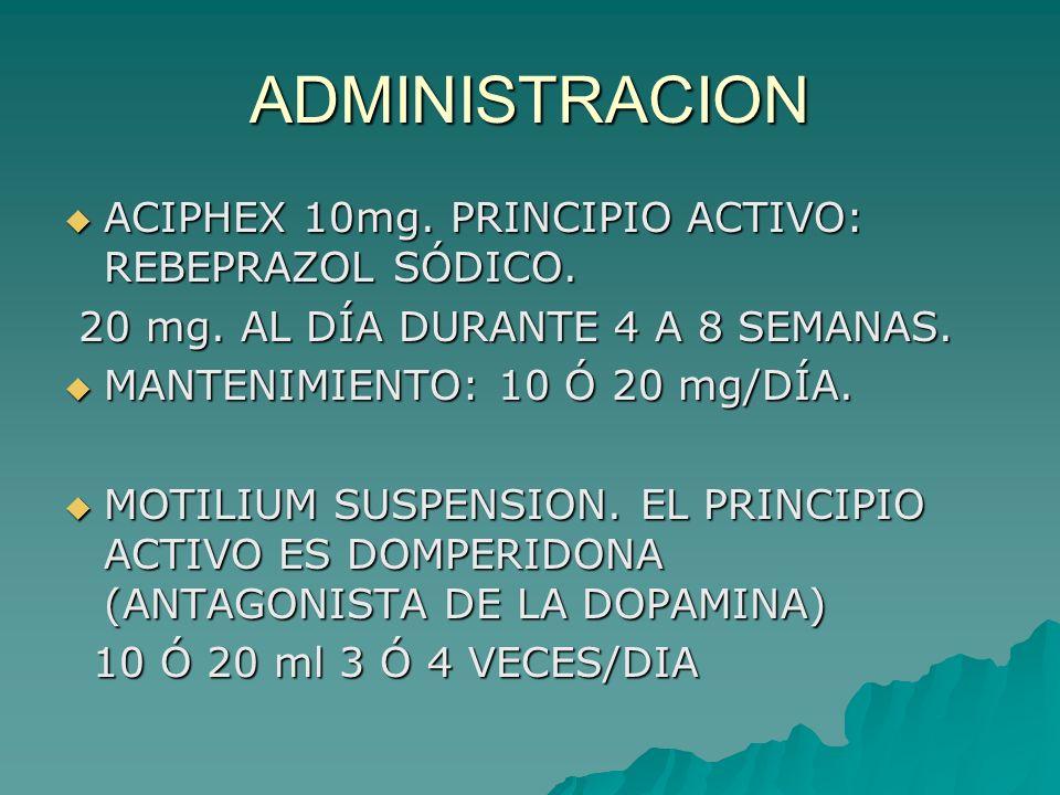 ADMINISTRACION ACIPHEX 10mg. PRINCIPIO ACTIVO: REBEPRAZOL SÓDICO.