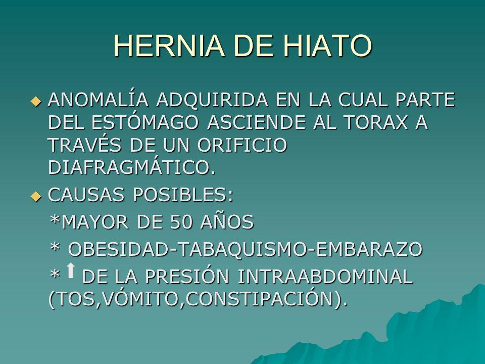 HERNIA DE HIATO ANOMALÍA ADQUIRIDA EN LA CUAL PARTE DEL ESTÓMAGO ASCIENDE AL TORAX A TRAVÉS DE UN ORIFICIO DIAFRAGMÁTICO.