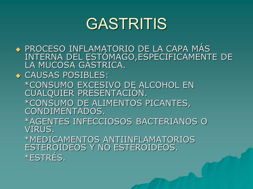 GASTRITISPROCESO INFLAMATORIO DE LA CAPA MÁS INTERNA DEL ESTÓMAGO,ESPECIFICAMENTE DE LA MUCOSA GÁSTRICA.