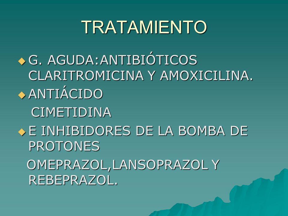 TRATAMIENTO G. AGUDA:ANTIBIÓTICOS CLARITROMICINA Y AMOXICILINA.
