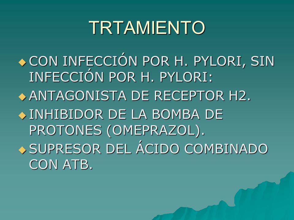 TRTAMIENTO CON INFECCIÓN POR H. PYLORI, SIN INFECCIÓN POR H. PYLORI: