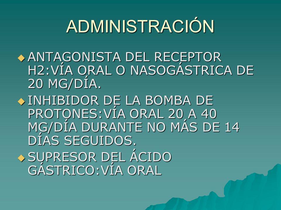 ADMINISTRACIÓNANTAGONISTA DEL RECEPTOR H2:VÍA ORAL O NASOGÁSTRICA DE 20 MG/DÍA.