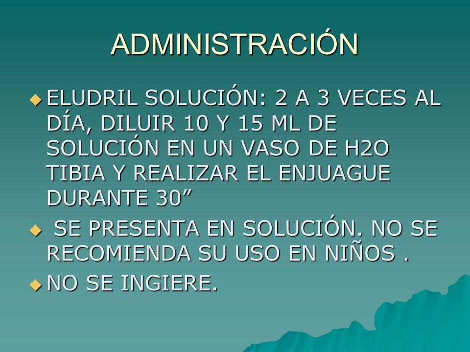 ADMINISTRACIÓN ELUDRIL SOLUCIÓN: 2 A 3 VECES AL DÍA, DILUIR 10 Y 15 ML DE SOLUCIÓN EN UN VASO DE H2O TIBIA Y REALIZAR EL ENJUAGUE DURANTE 30