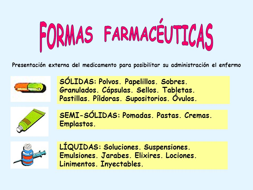FORMAS FARMACÉUTICAS Presentación externa del medicamento para posibilitar su administración el enfermo.