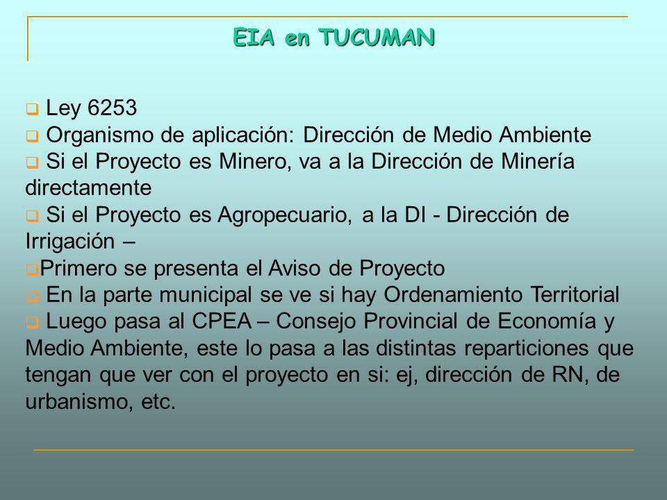 EIA en TUCUMAN Ley 6253. Organismo de aplicación: Dirección de Medio Ambiente. Si el Proyecto es Minero, va a la Dirección de Minería directamente.