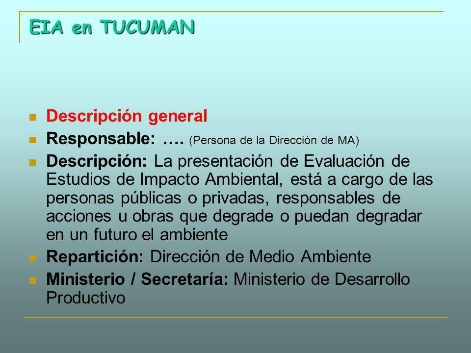 EIA en TUCUMAN Descripción general