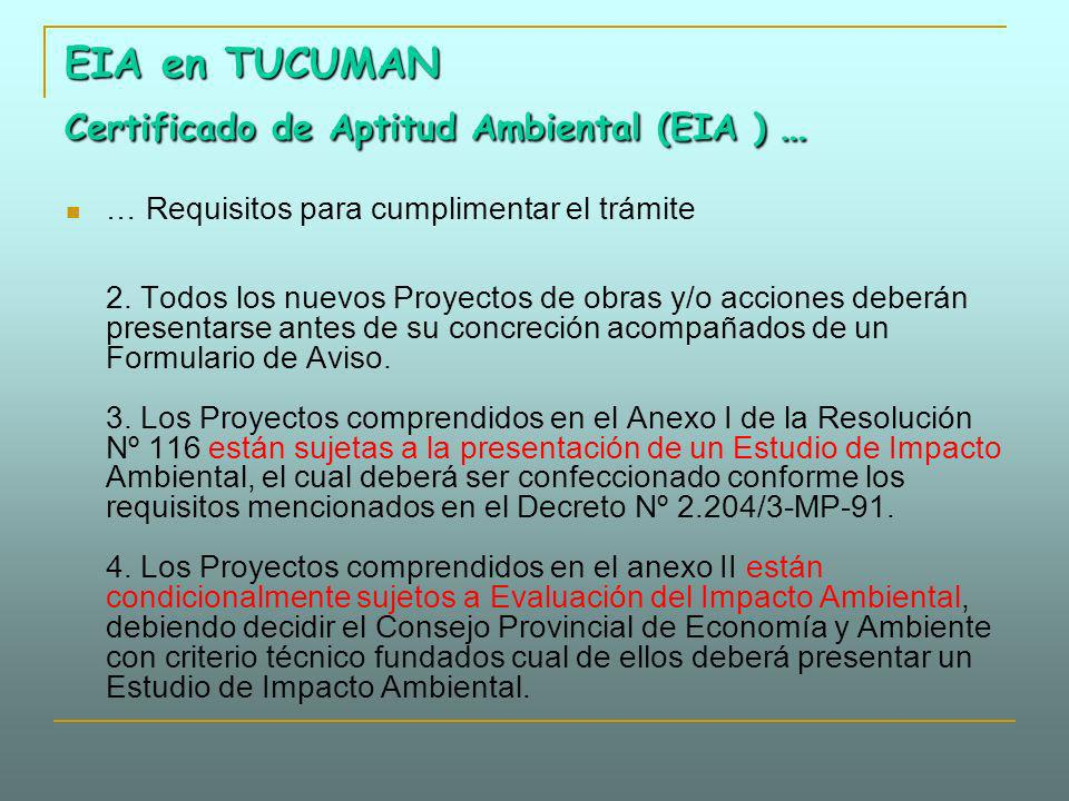 EIA en TUCUMAN Certificado de Aptitud Ambiental (EIA ) …