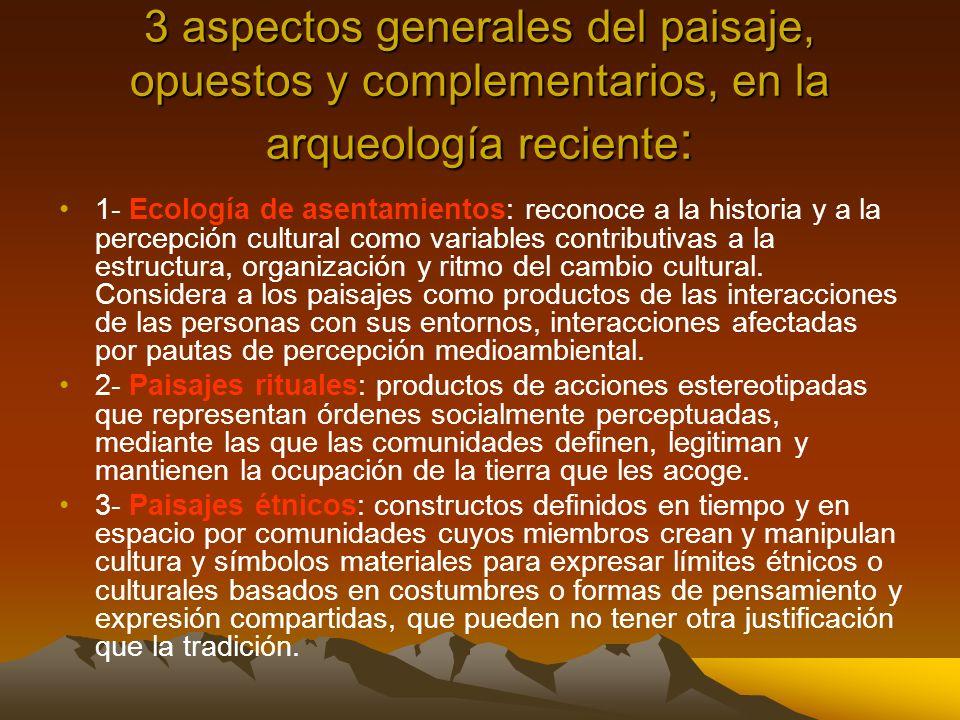 3 aspectos generales del paisaje, opuestos y complementarios, en la arqueología reciente: