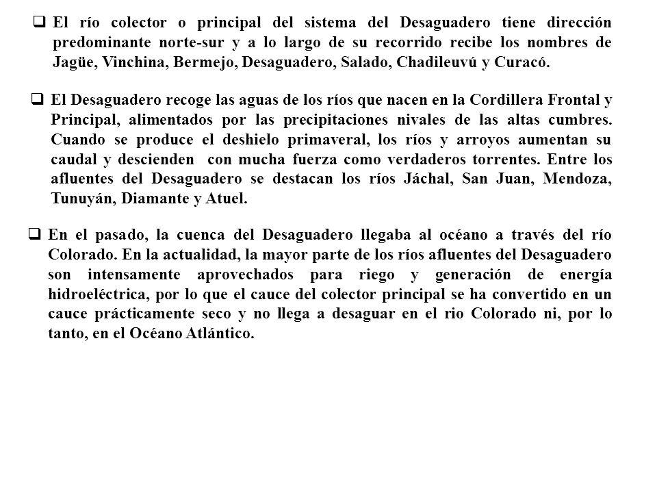 El río colector o principal del sistema del Desaguadero tiene dirección predominante norte-sur y a lo largo de su recorrido recibe los nombres de Jagüe, Vinchina, Bermejo, Desaguadero, Salado, Chadileuvú y Curacó.