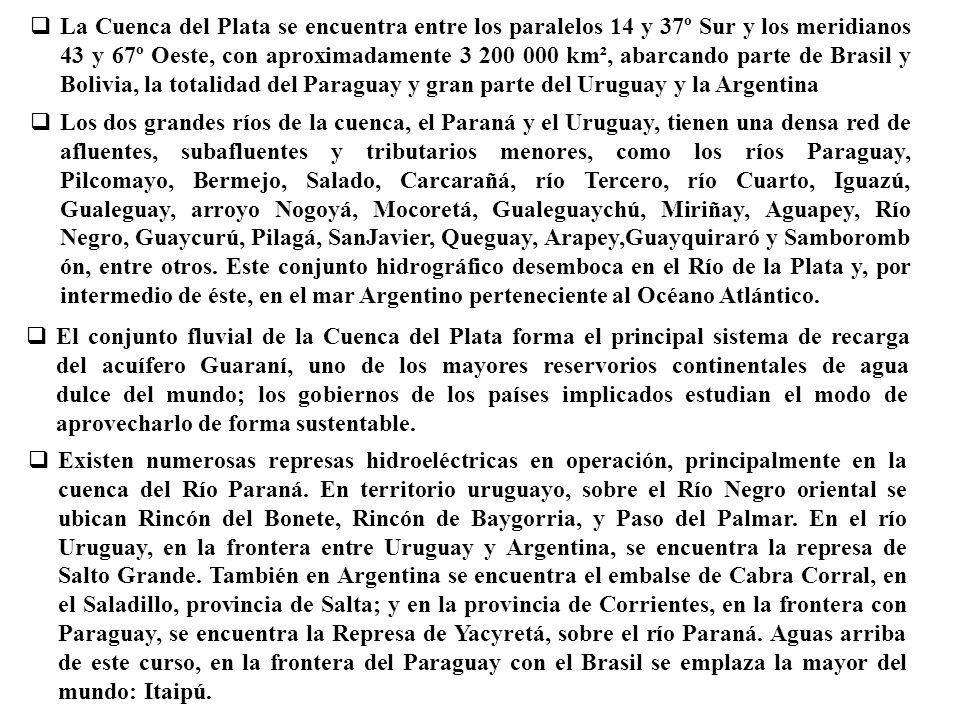 La Cuenca del Plata se encuentra entre los paralelos 14 y 37º Sur y los meridianos 43 y 67º Oeste, con aproximadamente 3 200 000 km², abarcando parte de Brasil y Bolivia, la totalidad del Paraguay y gran parte del Uruguay y la Argentina