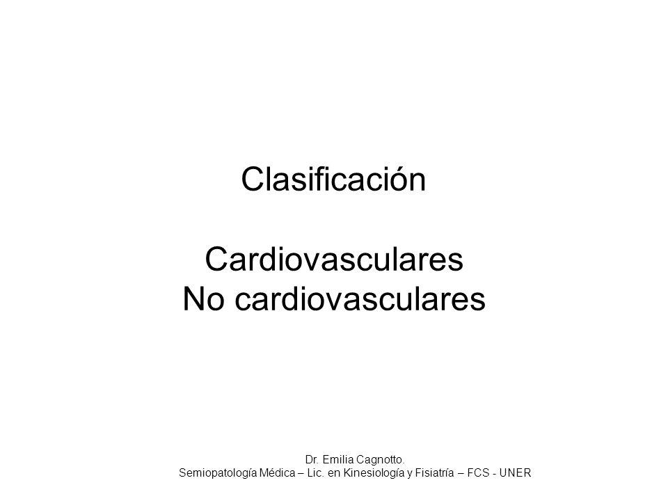 Clasificación Cardiovasculares No cardiovasculares
