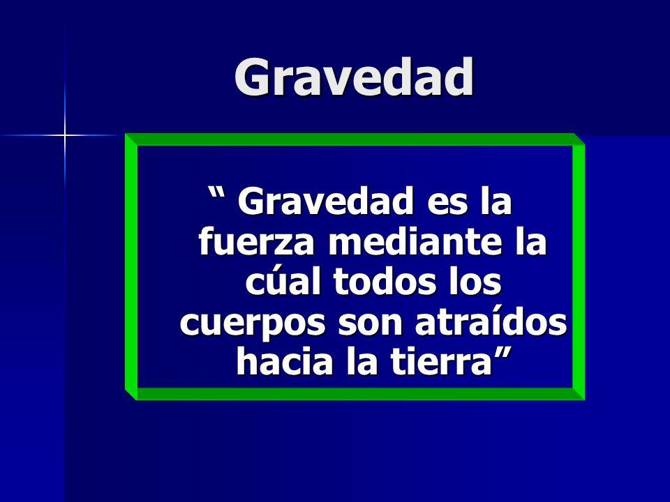 Gravedad Gravedad es la fuerza mediante la cúal todos los cuerpos son atraídos hacia la tierra