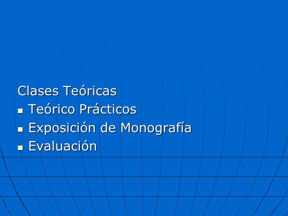 Clases Teóricas Teórico Prácticos Exposición de Monografía Evaluación