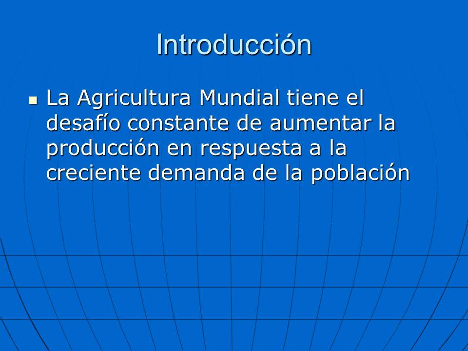 Introducción La Agricultura Mundial tiene el desafío constante de aumentar la producción en respuesta a la creciente demanda de la población.