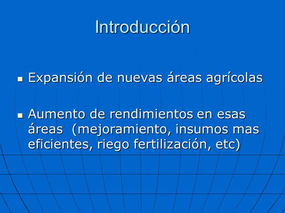 Introducción Expansión de nuevas áreas agrícolas