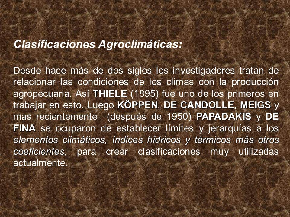 Clasificaciones Agroclimáticas: