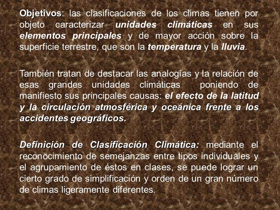 Objetivos: las clasificaciones de los climas tienen por objeto caracterizar unidades climáticas en sus elementos principales y de mayor acción sobre la superficie terrestre, que son la temperatura y la lluvia.