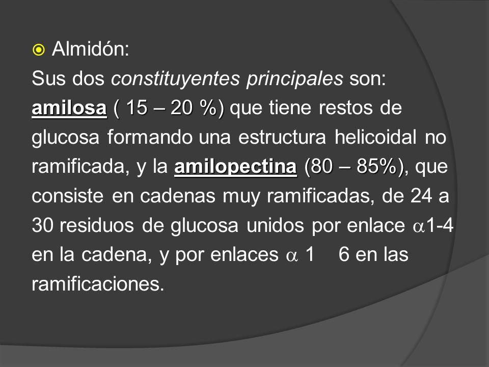 Almidón: Sus dos constituyentes principales son: amilosa ( 15 – 20 %) que tiene restos de. glucosa formando una estructura helicoidal no.