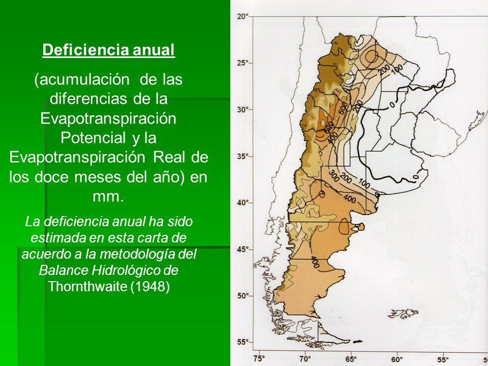 Deficiencia anual (acumulación de las diferencias de la Evapotranspiración Potencial y la Evapotranspiración Real de los doce meses del año) en mm.