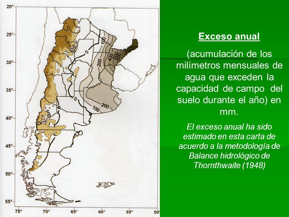 Exceso anual (acumulación de los milímetros mensuales de agua que exceden la capacidad de campo del suelo durante el año) en mm.