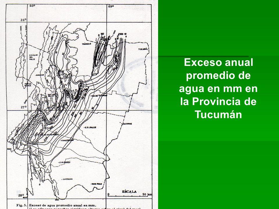 Exceso anual promedio de agua en mm en la Provincia de Tucumán