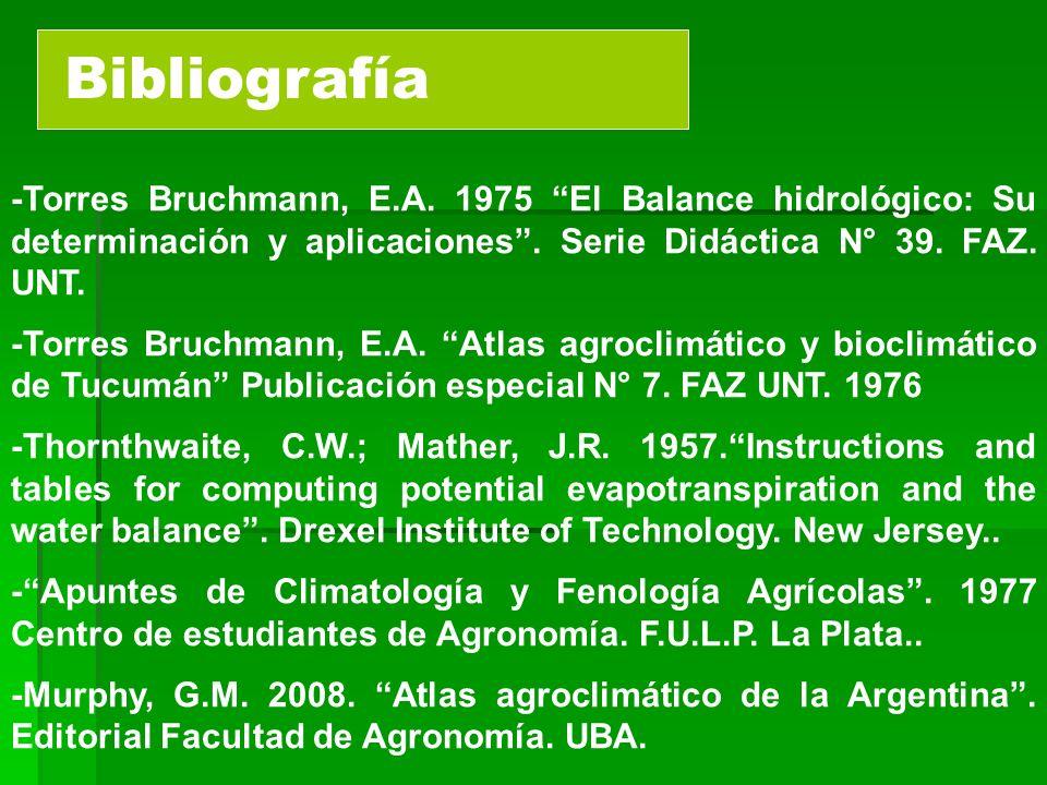 Bibliografía -Torres Bruchmann, E.A. 1975 El Balance hidrológico: Su determinación y aplicaciones . Serie Didáctica N° 39. FAZ. UNT.