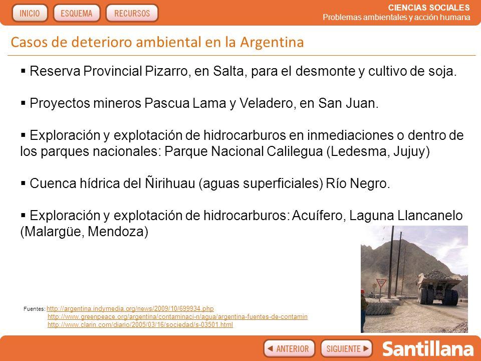Casos de deterioro ambiental en la Argentina