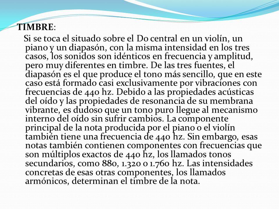 TIMBRE: Si se toca el situado sobre el Do central en un violín, un piano y un diapasón, con la misma intensidad en los tres casos, los sonidos son idénticos en frecuencia y amplitud, pero muy diferentes en timbre.