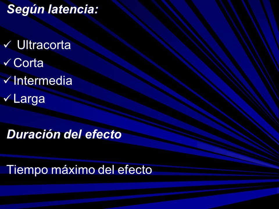 Según latencia: Ultracorta Corta Intermedia Larga Duración del efecto Tiempo máximo del efecto