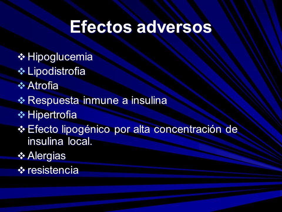 Efectos adversos Hipoglucemia Lipodistrofia Atrofia