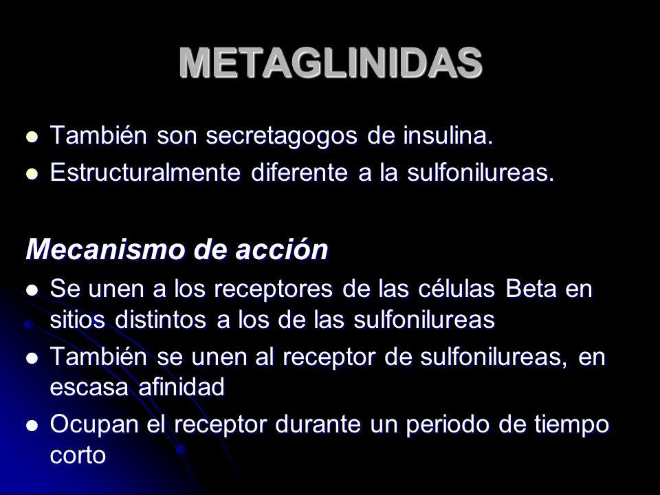 METAGLINIDAS Mecanismo de acción También son secretagogos de insulina.