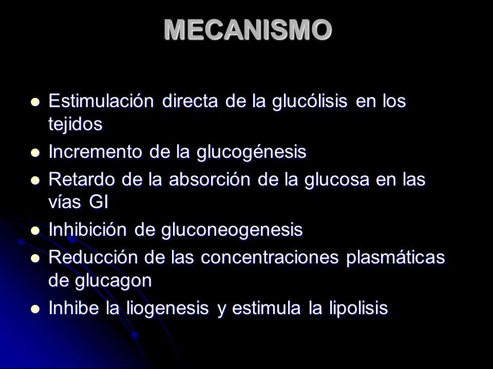 MECANISMO Estimulación directa de la glucólisis en los tejidos