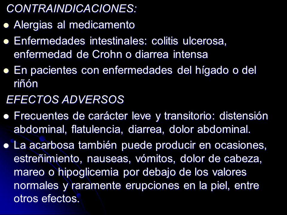 CONTRAINDICACIONES: Alergias al medicamento. Enfermedades intestinales: colitis ulcerosa, enfermedad de Crohn o diarrea intensa.