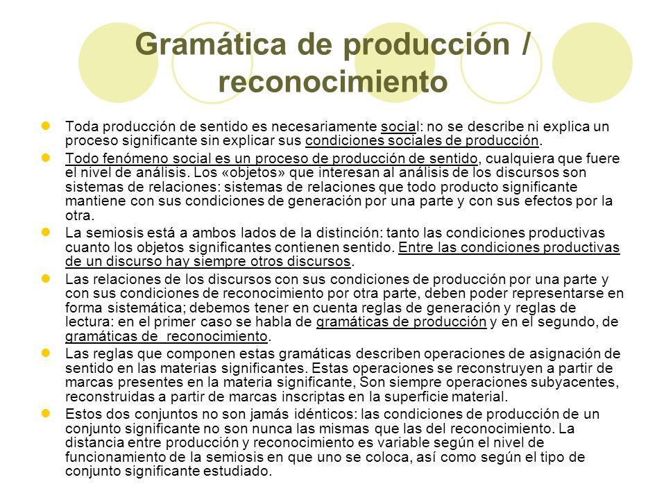Gramática de producción / reconocimiento
