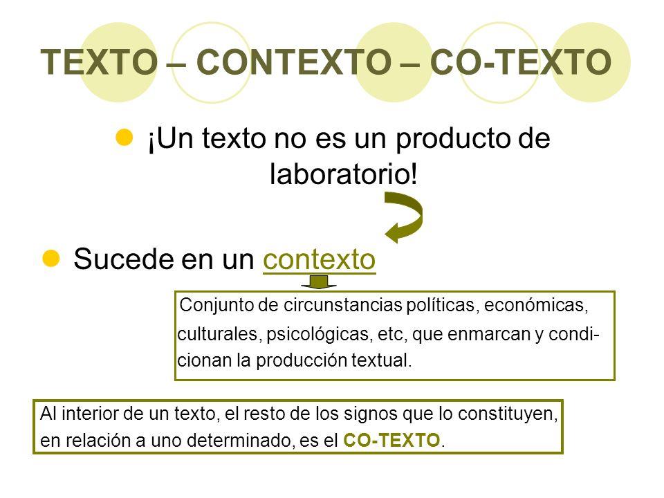 TEXTO – CONTEXTO – CO-TEXTO