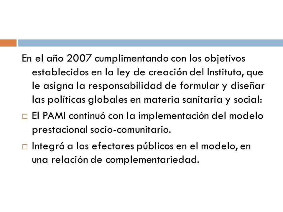 En el año 2007 cumplimentando con los objetivos establecidos en la ley de creación del Instituto, que le asigna la responsabilidad de formular y diseñar las políticas globales en materia sanitaria y social: