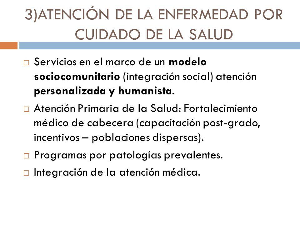 3)ATENCIÓN DE LA ENFERMEDAD POR CUIDADO DE LA SALUD