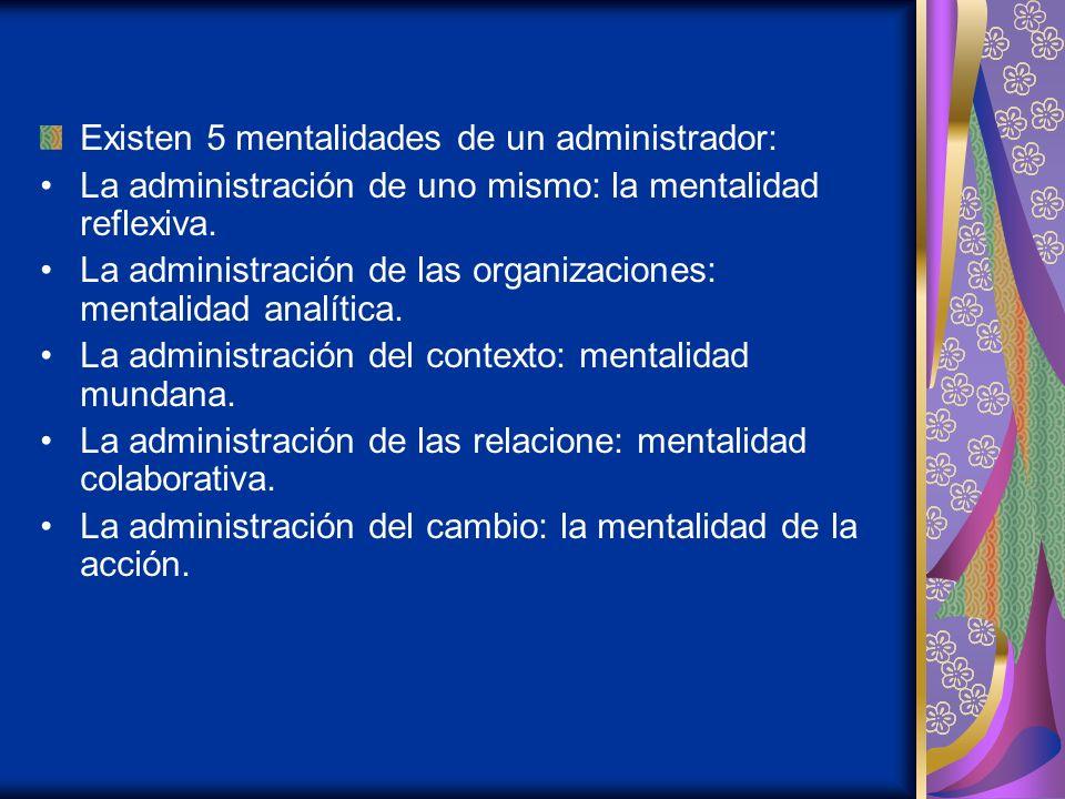 Existen 5 mentalidades de un administrador:
