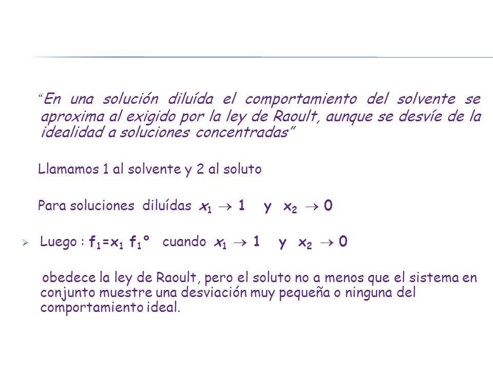 En una solución diluída el comportamiento del solvente se aproxima al exigido por la ley de Raoult, aunque se desvíe de la idealidad a soluciones concentradas