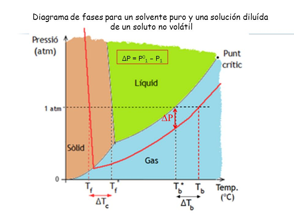 Diagrama de fases para un solvente puro y una solución diluída